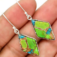 Blue Turquoise In Green Mohave - USA 925 Sterling Silver Earrings Jewelry 5562