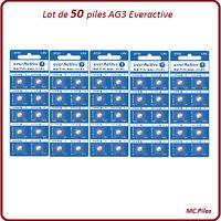 Lot 50 piles boutons AG3/LR41 alcaline Everactive, livraison rapide et gratuite