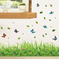 Grass Flower Butterflies Wall Stickers Living Room Kids Bedroom DIY Art Decal