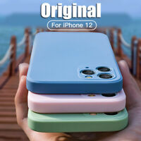 For iPhone 12 Pro Max 11 Pro XS XR X 8 7 Liquid Silicone Plain Simple Case Cover