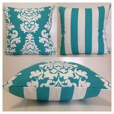 45x45cm Indoor/Outdoor Premier Prints Aqua/White Damask/Stripe Cushion Cover