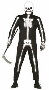 Mens Glow in the Dark Skeleton Costume Bones Jumpsuit Halloween Fancy Dress