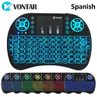 2.4G Spanish mini 7-color Backlit Keyboard Wireless +Mouse for Pc Android TV BOX