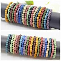 "Lava Stretch Bracelet Round Bead Elastic Bangle 6mm 8mm 10mm Handmade 7.5"""