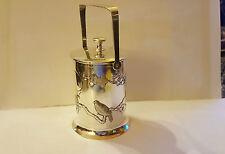 Chinese Silver Tuck Chang Lidded Preserve Jar - Prunus & Bird Repousse - C1900