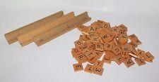 Set of 99 Scrabble Wood Letter Tiles Arts Crafts Game Spelling Pieces & 3 Racks