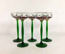 Antique Bohemian Theresienthal Set of 5 Art Nouveau Floral Liqueur Glasses