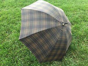 "Rare BARBOUR 60"" Waxed Olive Tartan Full Size Golf Umbrella"