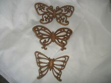 3 Vtg 1978 Home Interiors Homeco Brown Wicker Look Butterflies Wall Hanging