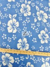 "HAWAIIAN FLOWER PRINT POLAR FLEECE FABRIC - BABY BLUE - 60"" WIDTH HIBISCUS 239"