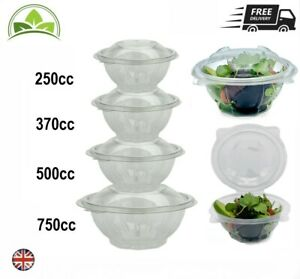 Clear Hinged Salad Bowl Snap Lid Containers High Quality - Available in 4 sizes