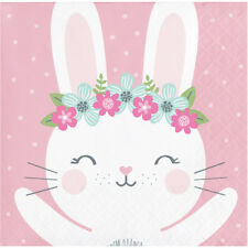 16 x Bunny Rabbit Party Pink Beverage Drinks Napkins Baby Girl Birthday Party