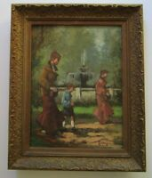 VINTAGE POST IMPRESSIONISM PAINTING FRENCH? FIGURES SIGNED MYSTERY ARTIST