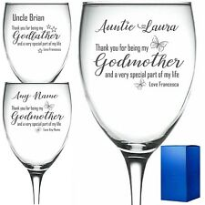 Personalised Engraved Wine Glass Godmother Godfather christening gift THANK YOU