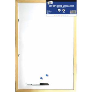 White Dry Wipe Pine Board 800 x 600mm Marker Wooden Frame Noticeboard Memo