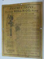 Vintage Uniflow Mfg. Co. Erie, PA. ROLL-N-OIL Pump Advertising Instructions