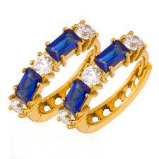 Blue Sapphire Crystal Girls Round  Huggie Cute Small Lucky Hoop Earrings earings