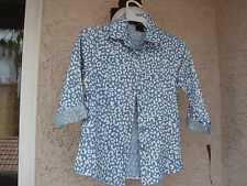 """AUTHENTIC """"ALMOST FAMOUS"""" GIRLS SIZE 10/12 LT. BLUE ANIMAL PRINT BUTTON DOWN TOP"""