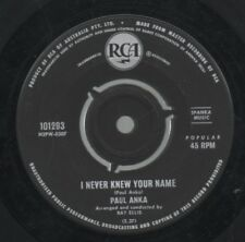 "PAUL ANKA   Rare 1962 Aust Only 7"" OOP Teen Pop Single ""I Never Knew Your Name"""