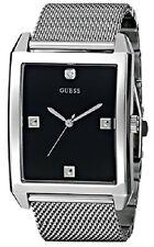 New GUESS Men's  Rectangular Silver-Tone Diamond-Accented Mesh Watch U0279G1