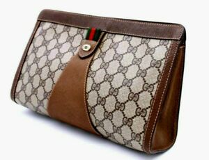 【Rank AB】 Authentic Gucci GG Supreme Sherry Clutch Hand Bag Second Vintage Italy