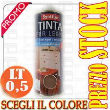 0,5 L | TINTA PER LEGNO acquaréthane INODORE | SYNTILOR Vari Colori | STOCK