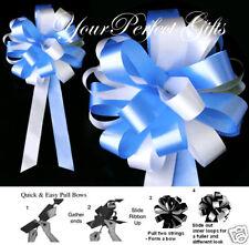 "BABY LIGHT BLUE WHITE WEDDING 8"" PEW BOWS BRIDAL SHOWER"