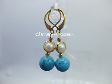 Stunning AAA+ 6-7mm real SOUTH SEA White turquoise round PEARL EARRINGS 14k GOLD