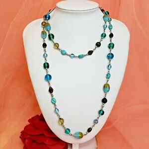 """India Trade Glass Bead Necklace Chic 40"""" Long Statement Jewelry"""