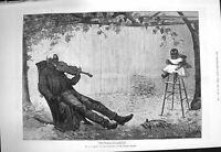 Original Old Antique Print 1875 Black Man Little Girl High Chair Music Victorian