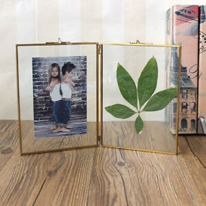 Horizontal design Double Sided Glass Vintage style hanging picture photo frames