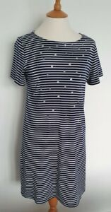 JOULES - NAVY/WHITE STRIPED COASTAL DRESS - SIZE UK 12 - EXCELLENT CONDITION