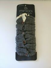 Minicci Women's Leg Warmers Knit One Size Gray with Buttons Lace Top NWT D