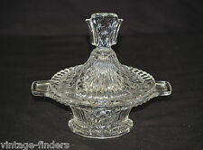 Vtg. Clear Pressed Glass Candy Nut Dish w Lid Diamond Vertical Design Glassware