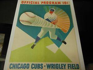 1960 CHICAGO CUBS PROGRAM SCORECARD VS MILWAUKEE BRAVES BASEBALL HANK AARON