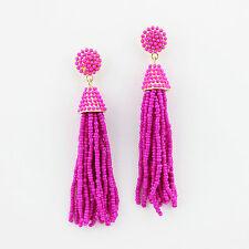 Hot Pink Boho Jewelry Handmade Seedbeads Tassel Earrings Beaded Chandelier Long