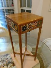 Southwestern Style Handcrafted Oak Wood & Ceramic Tile Accent Table