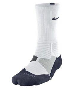 Nike Hyper Elite Basketball Crew Cushioned Socks White/Blue SX4801-144 Large