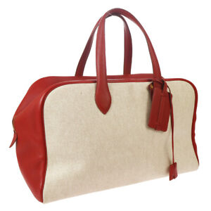HERMES VICTORIA 43 Travel Hand Bag Beige Red Toile H Taurillon Clemence 03042