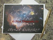 I Love You to the Moon and Back Original Handmade Blank Greeting Card A521