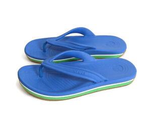 Crocs Mens 9 Retro Flip Flop Ocean Blue Grass Green Croslite Sandals Womens 11