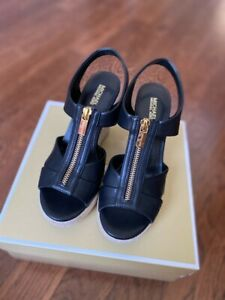 Michael Kors Roslyn Wedge Sandal Nappa Black Leather Size 6.5M New In Box