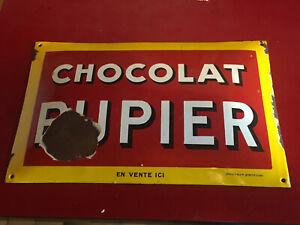 plaque emaillée bombée chocolat pupier en vente ici- emaillerie alsacienne