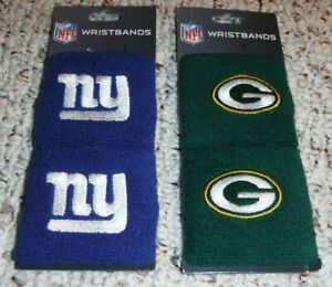 GREEN BAY PACKERS WRISTBANDS NEW YORK GIANTS WRISTBANDS TWO SETS BY FRANKLIN