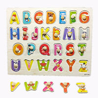 Wooden Uppercase Letters Block Puzzle Board Early Baby Educational Develop  ~