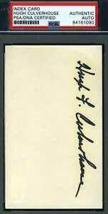 Hugh Culverhouse Psa Dna Autograph  3x5 Index Card Hand Signed
