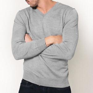 Mens 100% Pure Merino Wool V Neck Sweater Jumper Knit Machine Washable Silver