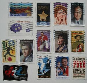 US # FOREVER USED STAMPS lot of 14 off paper