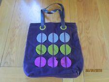 Boden Ladies Large Purple Wool leather 70's Retro Applique Shopper Shoulder Bag
