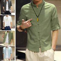 Mens Shirts Long Sleeve Mandarin Collar Retro Chinese Style Slim Fit Blouse Tops